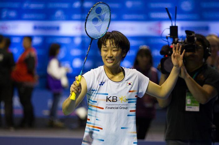 Pebulu tangkis tunggal putri Korea Selatan, An Se-young, seusai memenangkan laga final melawan Li Xuerui (China) pada New Zealand Open 2019, di Eventfinda Stadium, Auckland, Selandia Baru, Minggu (5/5/2019).