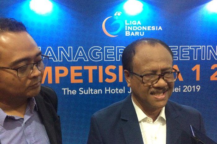 Direktur Interim PT LIB, Dirk Soplanit, saat ditemui di Hotel Sultan, Senayan, Jakarta Pusat, Selasa (7/5/2019).