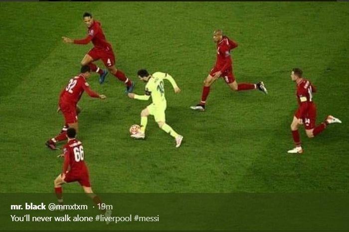 Megabintang Barcelona, Lionel Messi, dikawal lima pemain Liverpool dalam leg kedua semifinalLiga Champions, Selasa (7/5/2019)