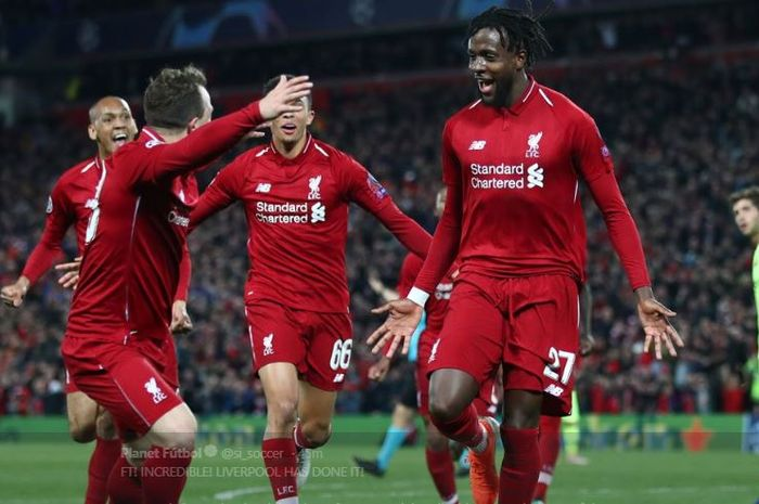 Para pemain Liverpool merayakan gol Divock Origi dalam leg kedua semifinal Liga Champions kontra Barcelona di Stadion Anfield, 7 Mei 2019.