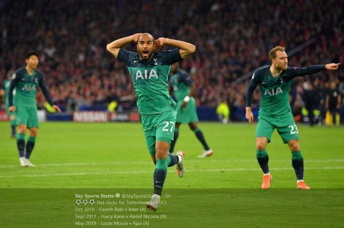 Lucas Moura mencetak gol Tottenham Hotspur ke gawang Ajax Amsterdam dalam laga semifinal Liga Champions, 8 Mei 2019.