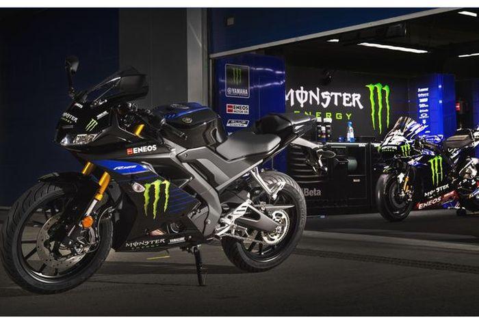 Livery Monster Energy Yamaha di MotoGP 2019 di Yamaha All New R125 yang bisa menjadi acuan untuk All New R15 di Indonesia.
