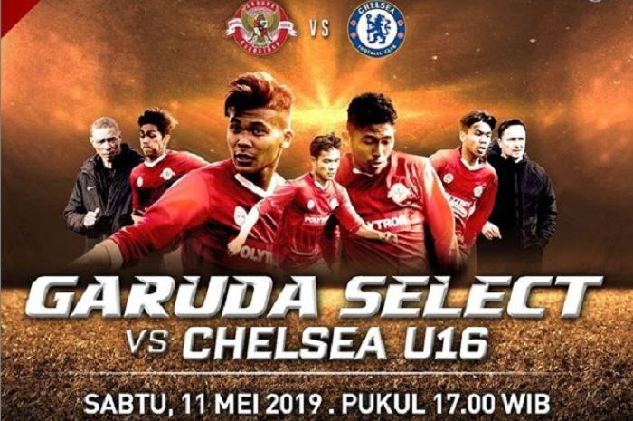 Live streaming Garuda Select Vs Chelsea U-15, ujicoba pamungkas Mochamad Supriadi dkk di Inggris.
