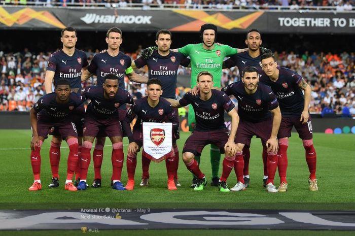 Para pemain Arsenal dalam laga leg kedua semifinal Liga Europa 2018-19 kontra Valencia di Stadion Mestalla, Kamis (9/5/2019).