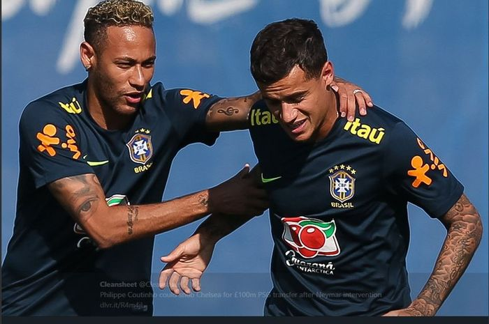 Neymar (kiri) dan Philippe Coutinho.