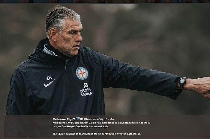 Pelatih kiper Melbourne City, Zeljko Kalac saat masih aktif bekerja untuk Blues City.