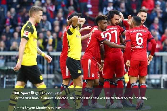 Para pemain Bayern Muenchen merayakan gol mereka ke gawang Borussia Dortmund pada laga Liga Jerman.