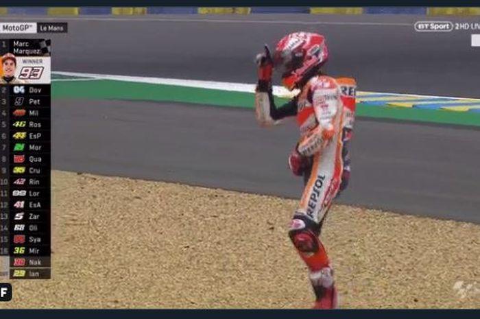 Perayaan kemenangan pembalap Repsol Honda, Marc Marquez, setelah memenangi MotoGP Prancis 2019, Minggu (19/5/2019).