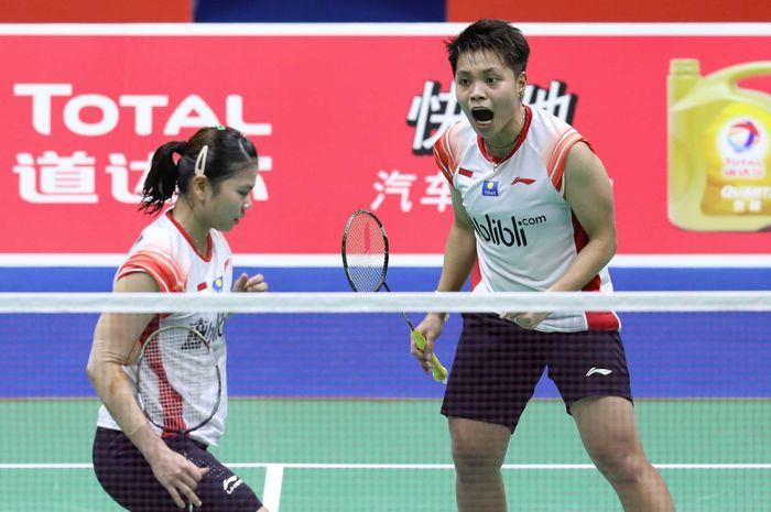 Pasangan ganda putri Indonesia, Greysia Polii/Apriyani Rahayu, saat tampil di laga penyisihan Grup B Piala Sudirman 2019.