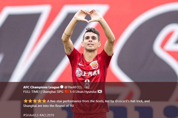 Selebrasi bintang Shanghai SIPG, Oscar seusai tiga kali membobol gawang Ulsan Hyundai pada laga pamungkas fase grup Liga Champions Asia 2019 di Shanghai Stadium, 21 Mei 2019.