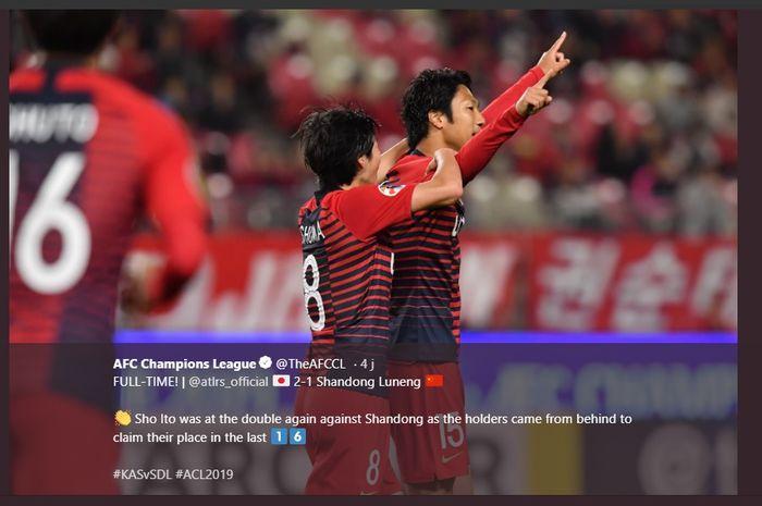 Selebrasi penyerang Sho Ito (kanan) seusai mencetak dua gol bagi Kashima Antlers ke gawang Shandong Luneng pada laga pamungkas Grup E Liga Champions Asia 2019 di Kashima Soccer Stadium, 22 Mei 2019.