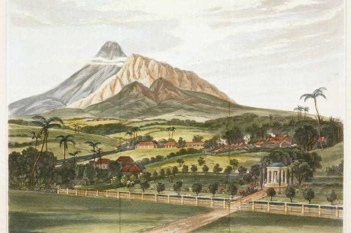 "Lukisan bertajuk ""View of Gunong Gidi, and the River Chilwang in Java, from the Garden at Buitenzorg."" Anonim, sekitar 1835."