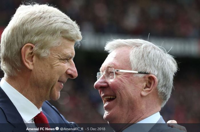 Pelatih legendaris Arsenal, Arsene Wenger  (kiri) dan eks manajer kawakan Manchester United, Sir Alex Ferguson.