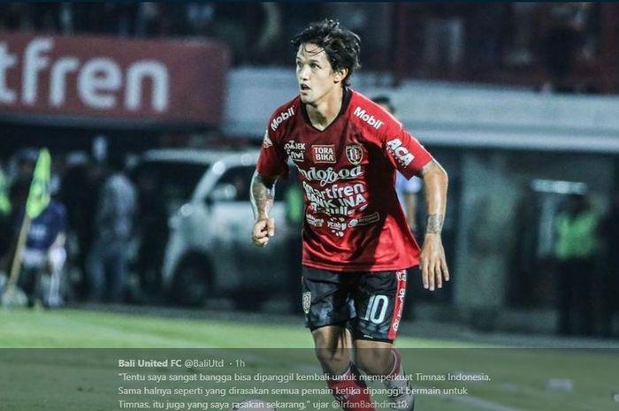 Pemain Bali United, Irfan Bachdim, dipanggil timnas Indonesia untuk persiapan duel uji coba kontra Yordania dan Vanuatu.