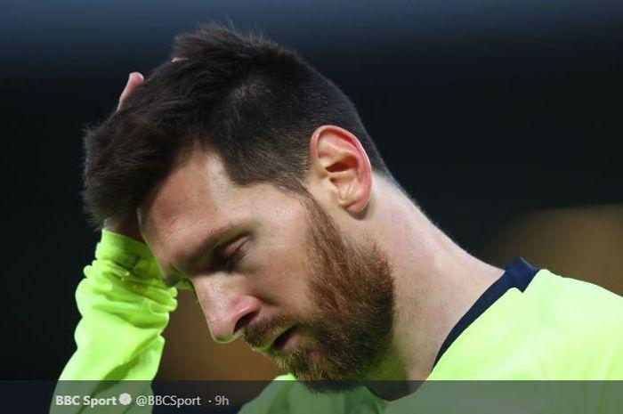 Ekspresi kecewa megabintang FC Barcelona, Lionel Messi, pada leg kedua semifinal Liga Champions 2018-2019 kontra Liverpool.