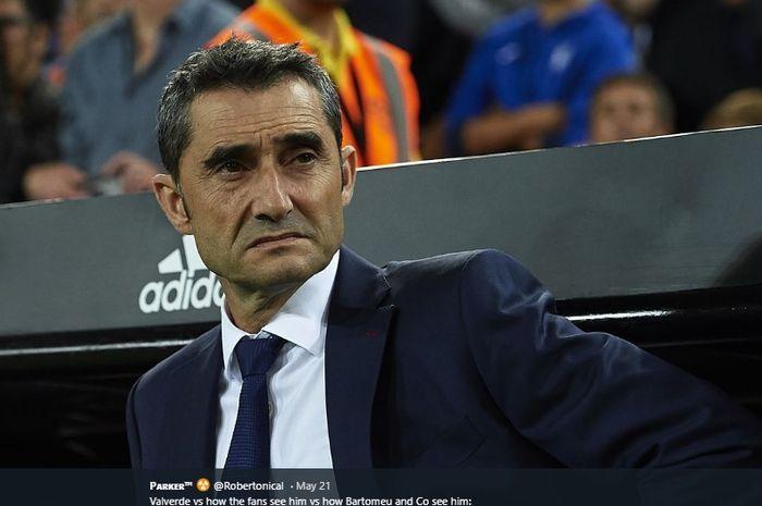 Ekspresi pelatih Barcelona, Ernesto Valverde