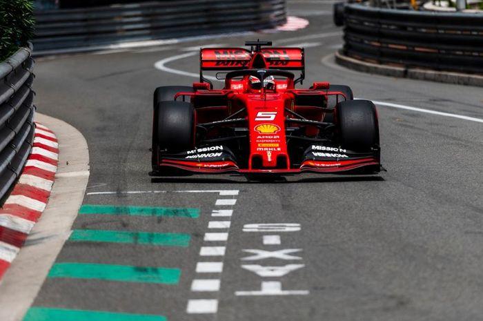 Pembalap tim Ferrari, Sebastian Vettel saat melakoni babak kualifikasi F1 Monako 2019, Sabtu (25/5/2019)