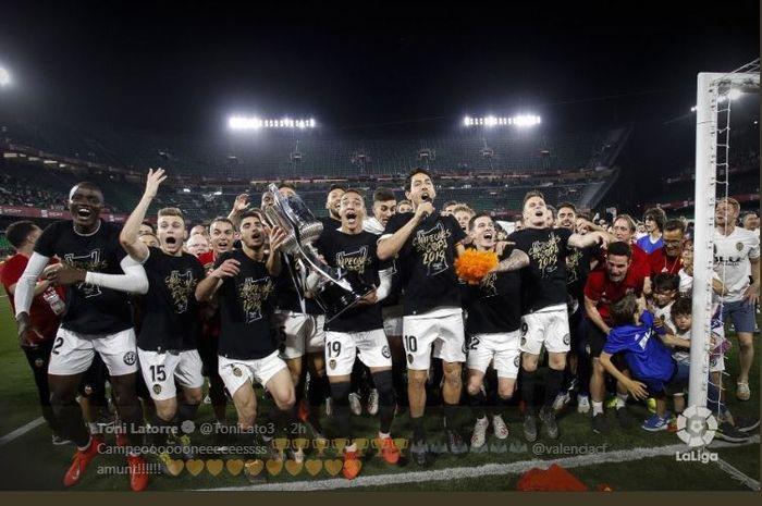 Valencia juara Copa del Rey selepas menekuk Barcelona pada final di Sevilla, 25 Mei 2019.