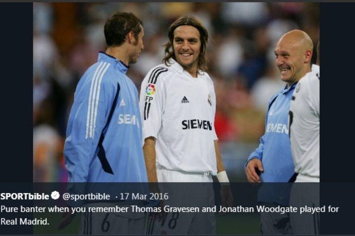 Thomas Gravesen (paling kanan) semasa membela Real Madrid.