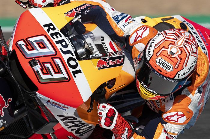 Aksi Marc Marquez (Repsol Honda) saat tampil pada sesi latihan bebas pertama MotoGP Italia 2019 pada Jumat (31/5/2019)