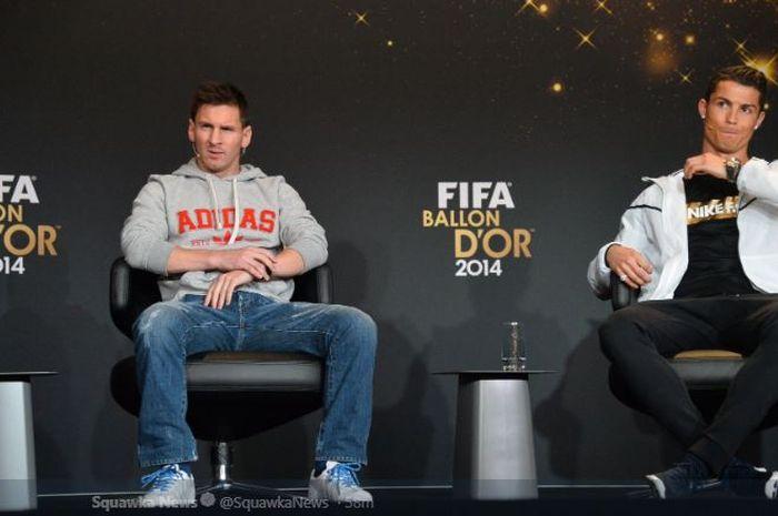 Megabintang FC Barcelona, Lionel Messi, dan eks superstar Real Madrid yang kini memperkuat Juventus, Cristiano Ronaldo.