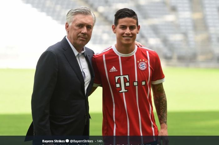 Carlo Ancelotti saat masih membela Bayern Muenchen bersama gelandang James Rodriguez.