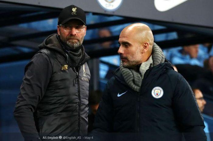 Pelatih Liverpool FC, Juergen Klopp, bersama Manajer Manchester City, Pep Guardiola.