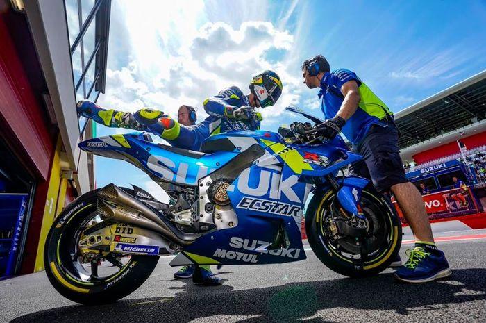 Pembalap Suzuki Ecstar, Joan Mir Melakukan persiapan jelang MotoGP Italia 2019, Minggu (2/6/2019)