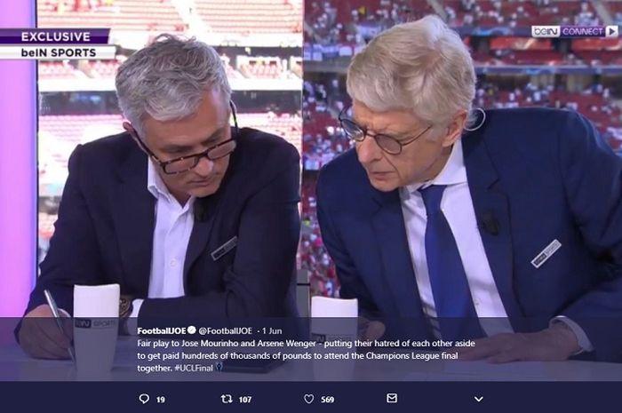 Jose Mourinho dan Arsene Wenger ketika menjadi komentator di laga final Liga Champions, Liverpool Vs Tottenham Hotspur, Sabtu (1//6/2019).