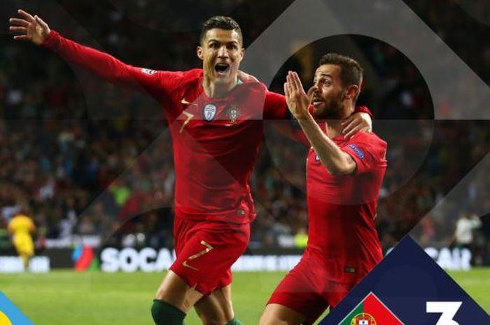 Megabintang timnas Portugal, Cristiano Ronaldo (kiri), merayakan gol yang dicetak ke gawang timnas Swiss dalam laga semifinal UEFA Nations League di Estadio do Dragao, Rabu (5/6/2019).