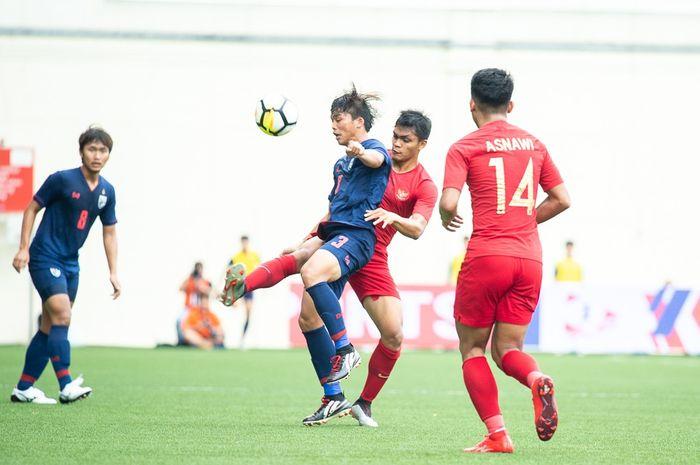 Laga Timnas U-23 Indonesia kontra Thailand di Piala Merlion 2019.