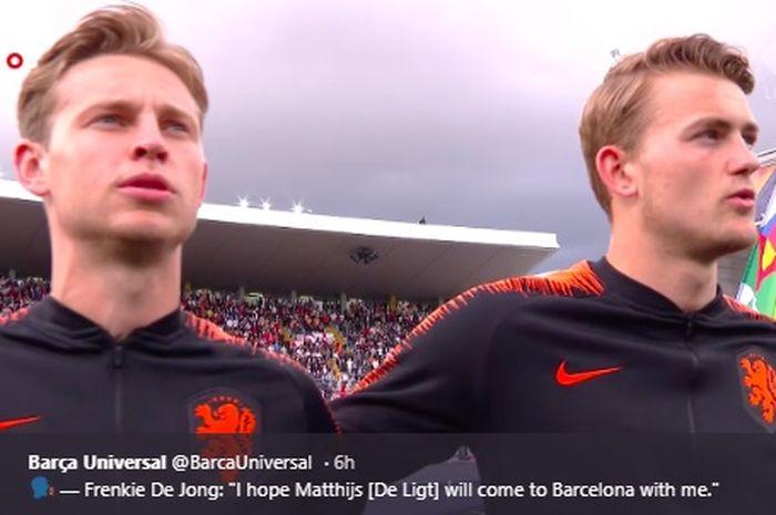 Frenkie de Jong dan Matthijs de Ligt merupakan dua pemain Ajax Amsterdam yang turut membela Belanda saat melawan Inggris pada semifinal UEFA Nations League