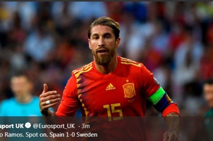 Kapten timnas Spanyol, Sergio Ramos, dalam laga melawan Swedia dalam Kualifikasi Piala Eropa 2020, Senin (10/6/2019).