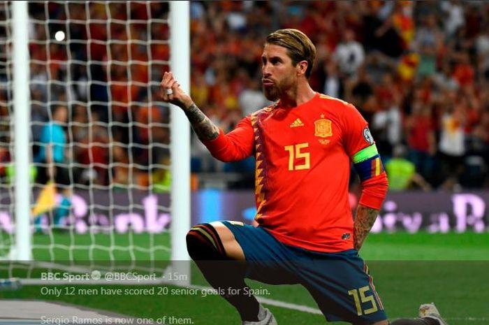 Selebrasi Sergio Ramos setelah mencetak gol untuk timnas Spanyol ke gawang Swedia dalam laga kualifikasi Piala Eropa 2020 di Santiago Bernabeu, 10 Juni 2019.