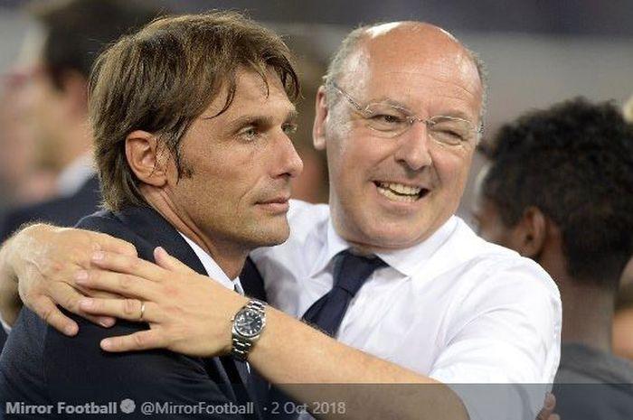 Pelatih Inter Milan, Antonio Conte, dan CEO Giuseppe Marotta.