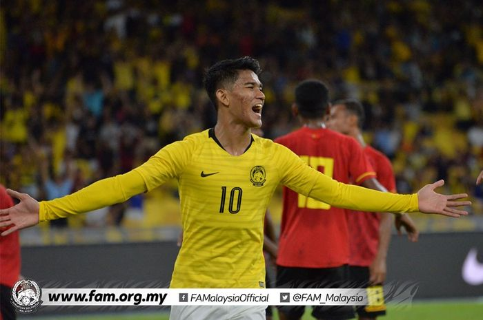 Selebrasi penyerang timnas Malaysia, Shahrel Fikri Fauzi yang mencetak tiga gol saat mereka menang 5-1 atas tuan rumah Timor Leste pada leg kedua babak pertama Kualifikasi Piala Dunia 2022/Piala Asia 2023 di Stadion Nasional Bukit Jalil, Kuala Lumpur, 11 Juni 2019.