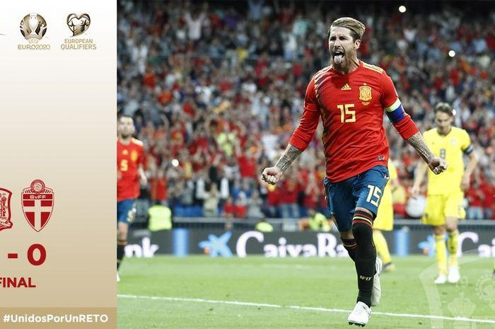 Timnas Spanyol menang atas Swedia dalam partai Kualifikasi Piala Eropa 2020 di Santiago Bernabeu, 10 Juni 2019.