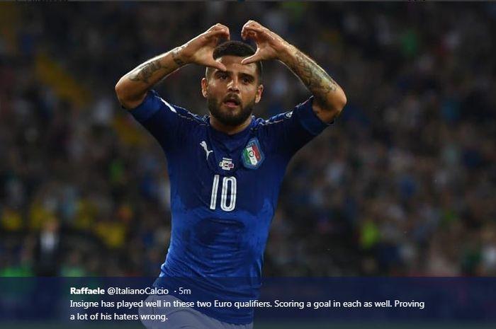 Lorenzo Insigne saat merayakan gol untuk timnas Italia.