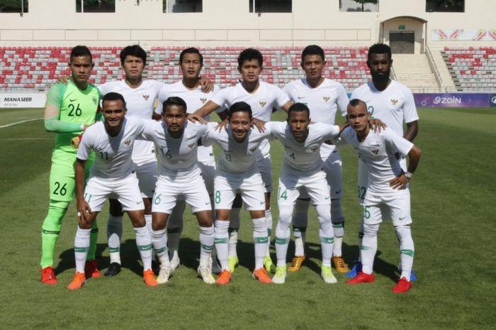 Skuat Timnas Indonesia saat menghadapi  tuan rumah Yordania dalam pertandingan uji coba, Selasa (11/6/2019)