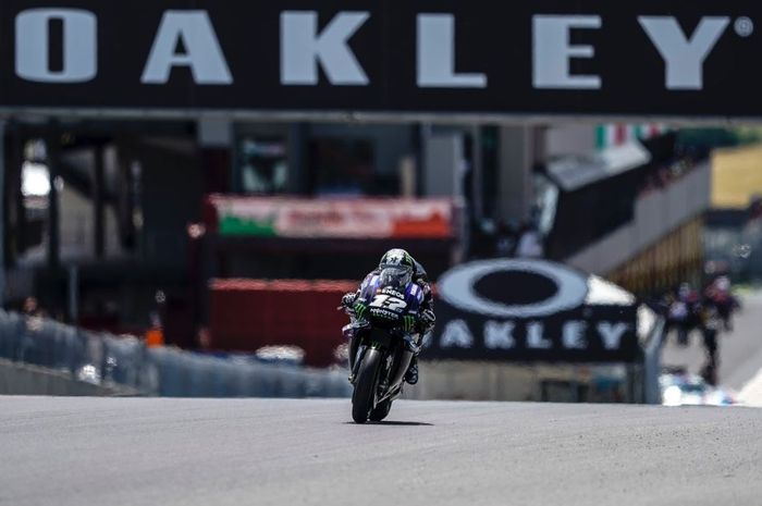 Aksi pembalapMonster Energy Yamaha, Maverick Vinales pada MotoGP Italia 2019