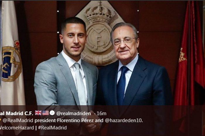 Eden Hazard dan Presiden Real Madrid, Florentino Perez, saat diperkenalkan pada Kamis (13/6/2019).