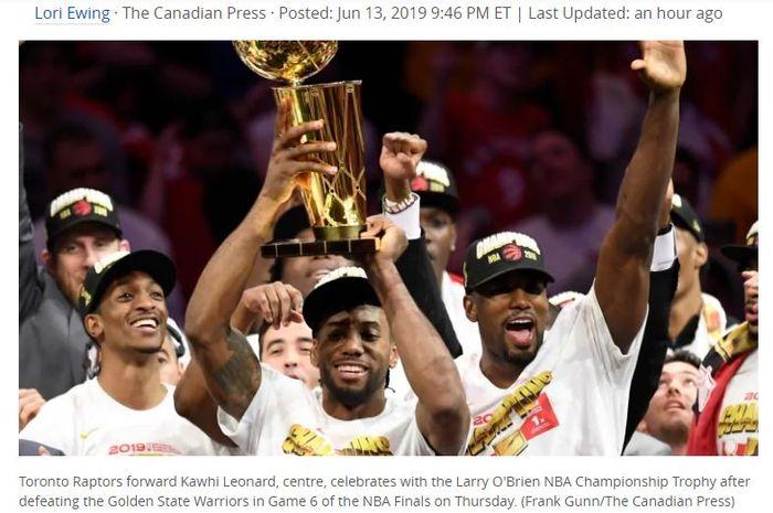 Kawhi Leonard cs merayakan kemenangan Toronto Raptors atas Golden State Warriors pada Game 6 NBA Finals, Jumat (14/6/2019) WIB.