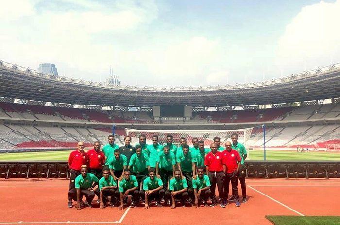 Skuat timnas Vanuatu mengunjungi Stadion Utama Gelora Bung Karno (SUGBK), Jumat (14/6/2019), pagi.