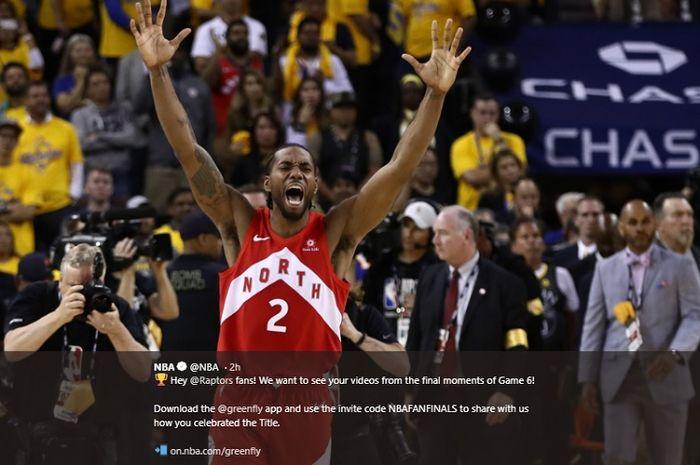 Ekspresi Kawhi Leonard setelah Toronto Raptors menjadi juara NBA 2019 seusai memenangkan laga keenam NBA Finals 2019, Jumat (14/6/2019) pagi WIB.