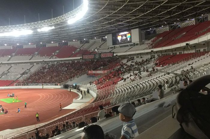 Suasana SUGBK di laga timnas Indonesia melawan Vanuatu, Sabtu (15/6/2019).