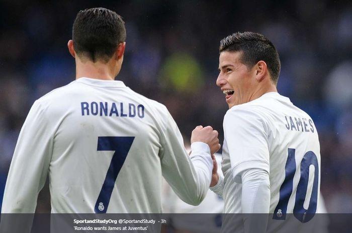 Cristiano Ronaldo dan James Rodriguez sewaktu masih bersama-sama bermain untuk Real Madrid
