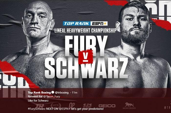 Poster duel tinju kelas berat antara Tyson Fury (kiri) kontra Tom Schwarz (kanan) yang digelar Sabtu(15/6/2019) malam waktu Amerika Serikat