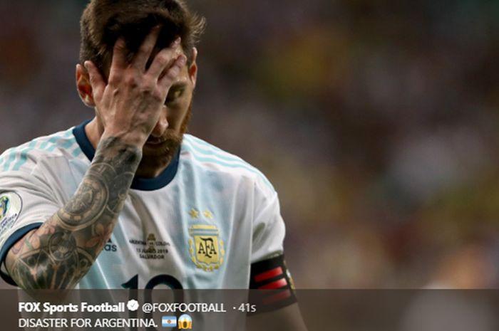 Ekspresi Lionel Messi saat pertandingan Argentina vs Kolombia pada babak penyisihan Grup B Copa America 2019 di Stadion Fonte Nova, 15 Juni 2019.