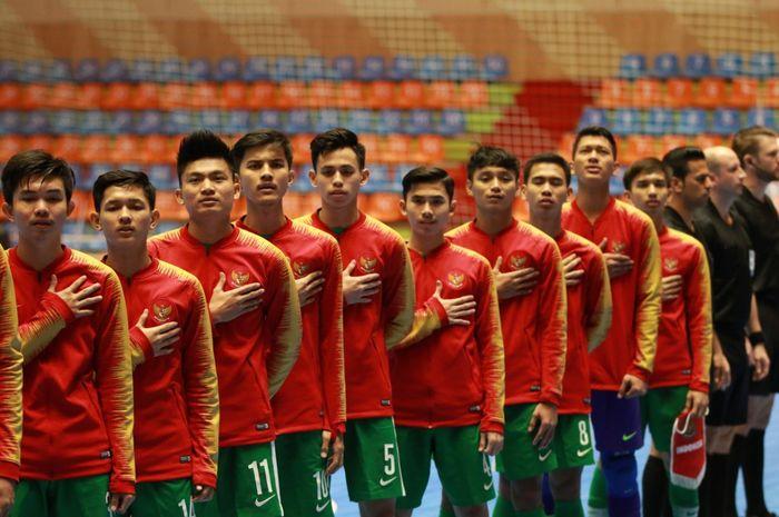 Timnas futsal U-20 Indonesia saat berhadapan dengan Taiwan pada laga pertama Grup D Piala Asia Futsal U-20 di Iran, Sabtu (15/6/2019).