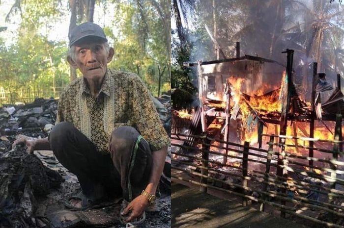 Kakek Arsyad dan rumahnya yang kini menjadi abu.